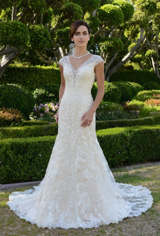 Lace illusion mermaid gown with scattered sequins & plunging sweetheart neckline
