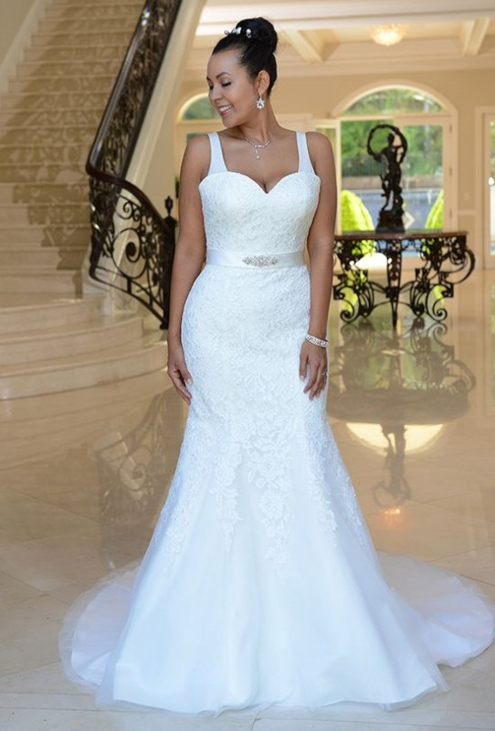 VW8758 - Cascading lace mermaid gown with beaded band and lace up back