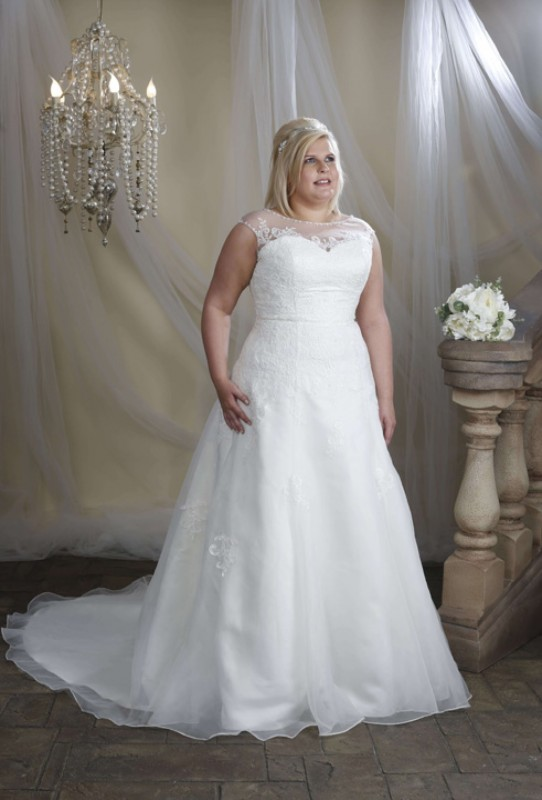 HMP1005 - Lace and organza dress with sheer upper bodice and back edged with lace and beading