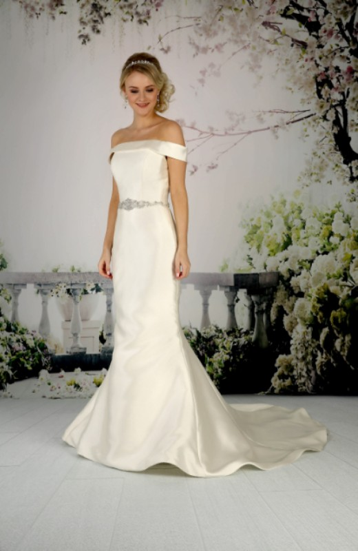 Off-the-shoulder mikado gown with an embellished waistline & fit and flair skirt.