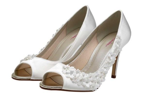 RAINBOW CLUB - AMELIA - Ivory blossom peep toe shoe