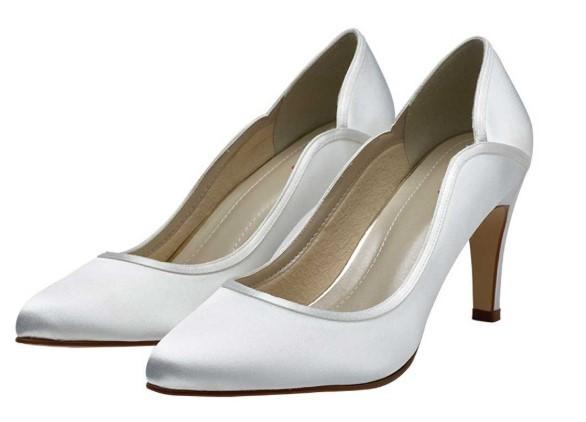 LUCY - White satin court shoe £75