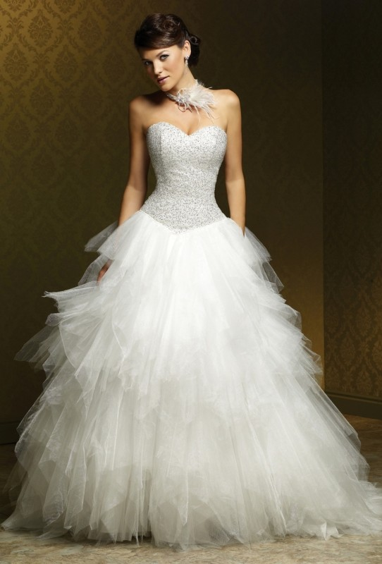 - Satin & tulle ball gown dress with sweetheart neckline & fully beaded bodice