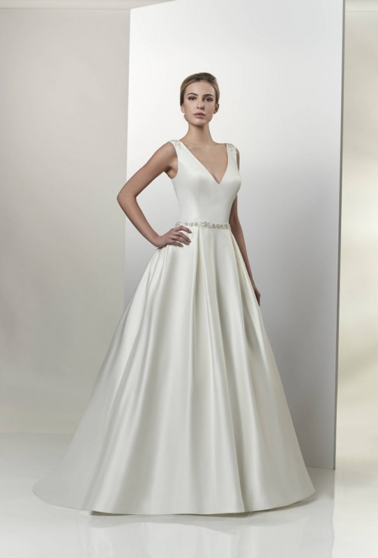 AT6666 -  Satin a-line gown with a v-neckline and plunging back