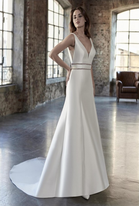 sheath mikado gown with a plunging neckline and beaded band