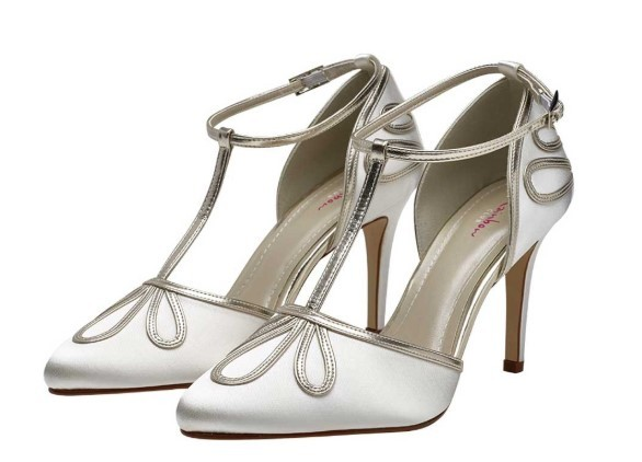 ELSPETH - T-bar satin court shoe £85