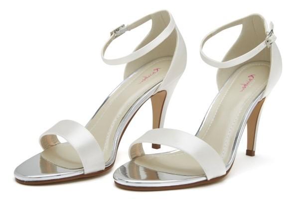 HARLEY - Ivory satin strappy shoe