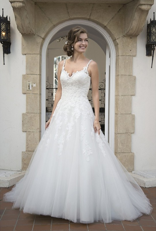 Full gown with sweetheart neckline, low beaded back & beaded straps.