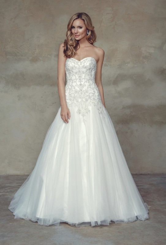 - Embroidered satin & tulle A-line dress with chapel length train