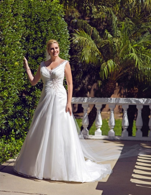 Organza A-line gown with beaded V-neckline