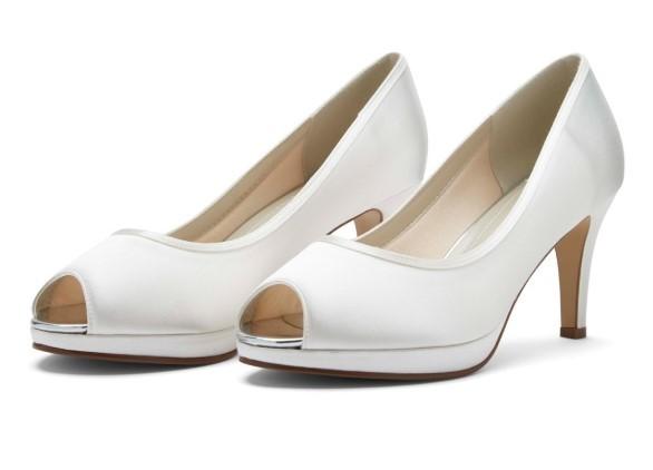 AMBER - Ivory satin peep toe shoe