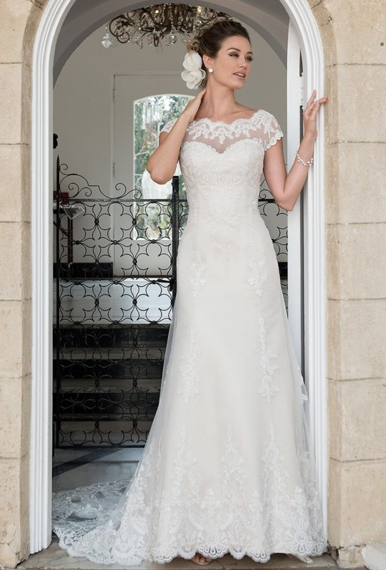 AT4636 - Lace illusion neckline over sweetheart neckline with A-line skirt & lace illusion back