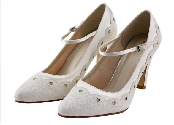 RAINBOW CLUB - TRIXIE - Block heel ivory shimmer Mary-Jane shoe