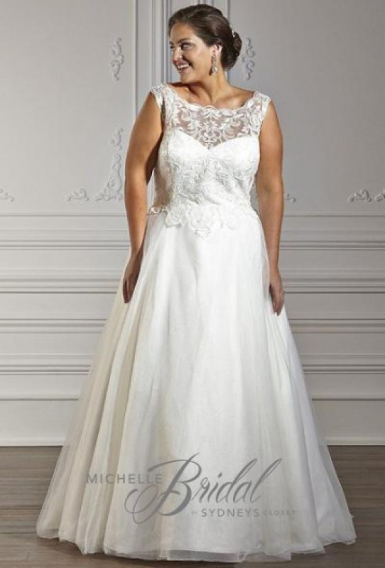 MB1606 - CHLOE - A-line with scoop neckline Illusion lace bodice