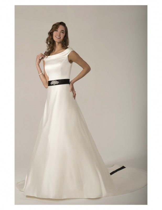 Colour: Ivory   Size:12    /    Imperial satin A-line gown with coloured sash accenting the waist th