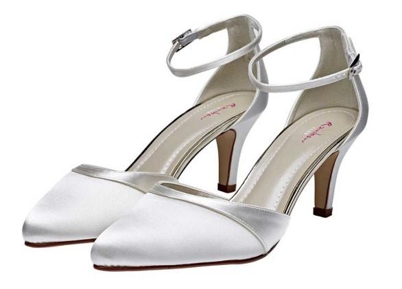 HARPER - Ivory satin ankle strap shoe £75