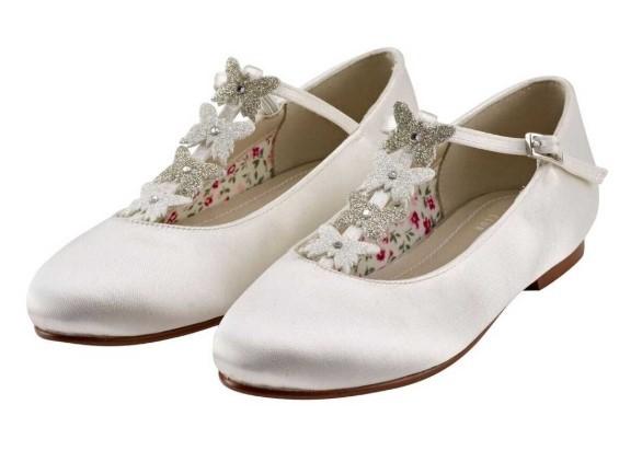 RAINBOW CLUB - KADY - Ivory satin butterfly shoe NOW