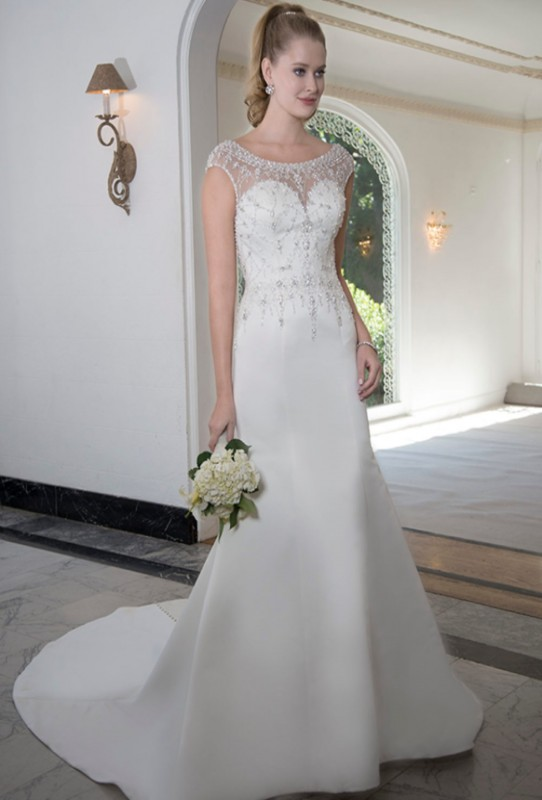 PA9254 - Fitted beaded gown with sweetheart neckline and beaded illusion top