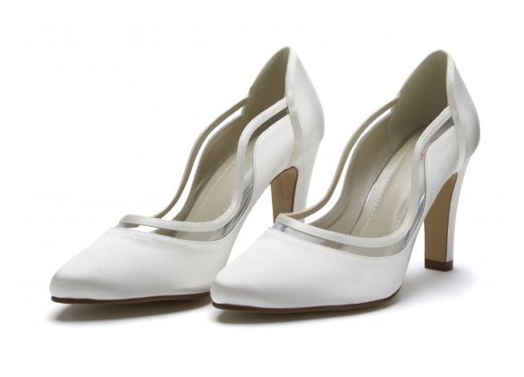 FARRAH - Ivory satin & PVC court shoe