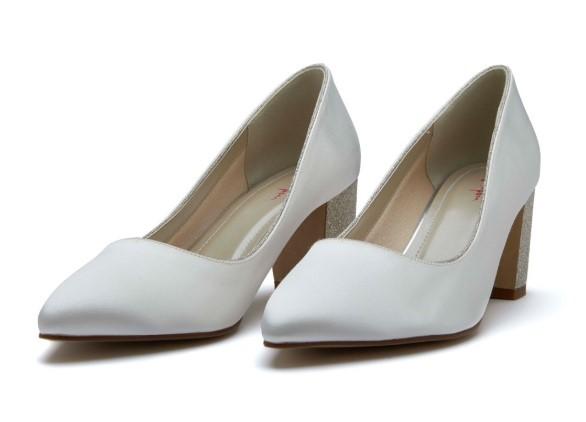 BAMBI - Ivory satin shimmer heel court shoe