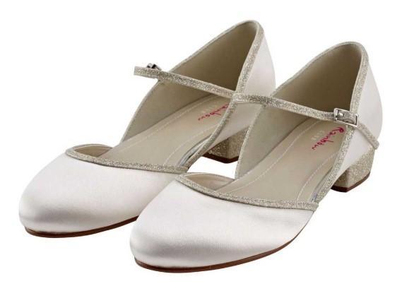 RAINBOW CLUB - DOTTY - Ivory satin shimmer shoe £38