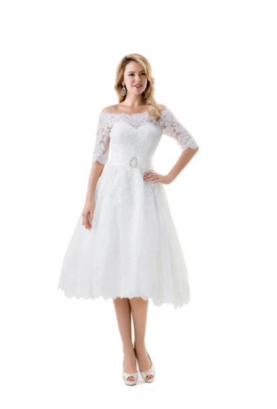 Knee Length Lace Dress With 3/4 Off Shoulder Lace Sleeves