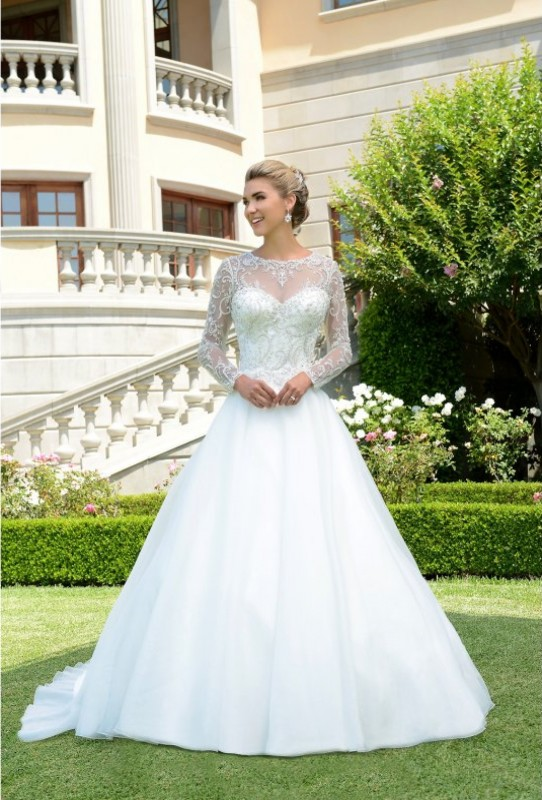 Sweetheart neckline ball gown with high collar illusion long sleeve jacket