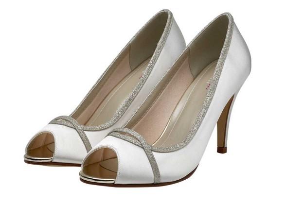 CHELSEY - Silver shimmer peep toe shoe £79