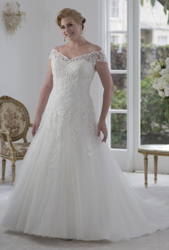 Off shoulder lace gown with dropped waist & A-line skirt