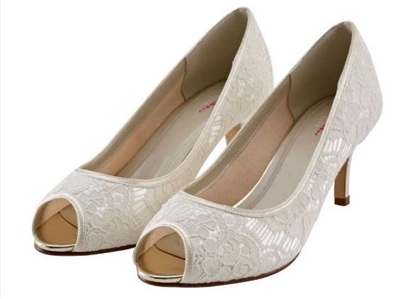 AVA -Ivory lace peep toe shoe £85