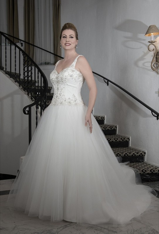 Beaded bodice with slightly dropped waist and full tulle ball gown