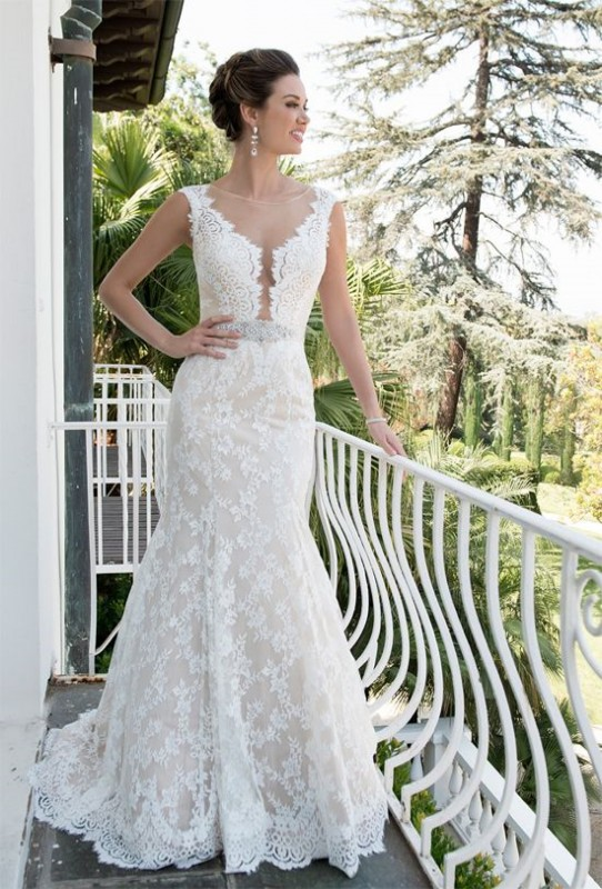 VE8251 -  Illusion lace collar, plunging neckline with belt waist accent on a fit & flare skirt