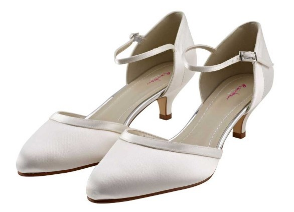 BRIANNA - Ivory satin ankle strap court shoe £75