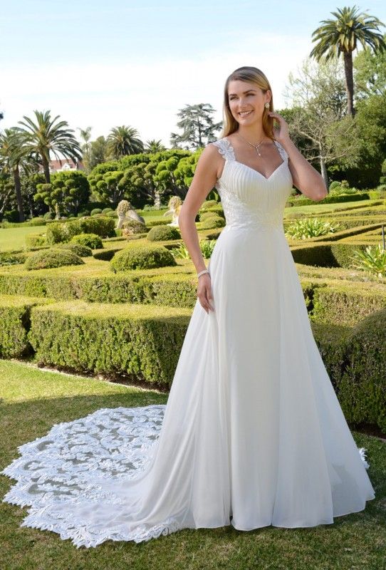 A-line gown with lace motif on fitted bodice with chiffon pleats at the bust