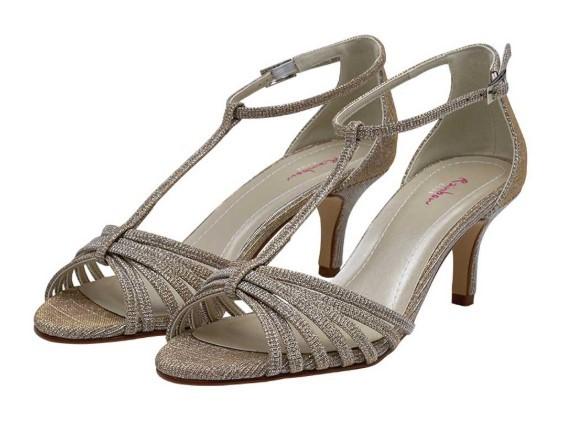 ESTELLE - Gold metallic T-bar sandal shoes £79