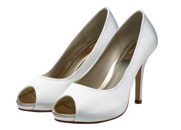 JENNIFER - White satin peep toe shoe £69