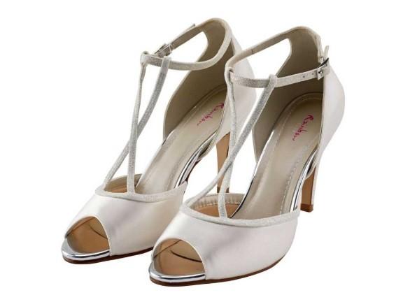 GIGI - T-bar ivory shimmer peep toe shoe £79