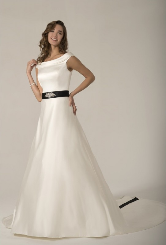 PA9287 - Imperial satin A-line gown with colored sash accenting the waist that ties into a bow