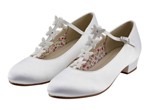 RAINBOW CLUB - LOLLY - White satin butterfly detail shoe £33
