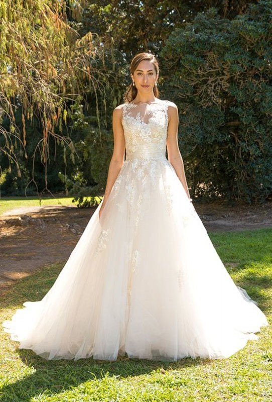 Cascading lace ball gown with illusion neckline and back