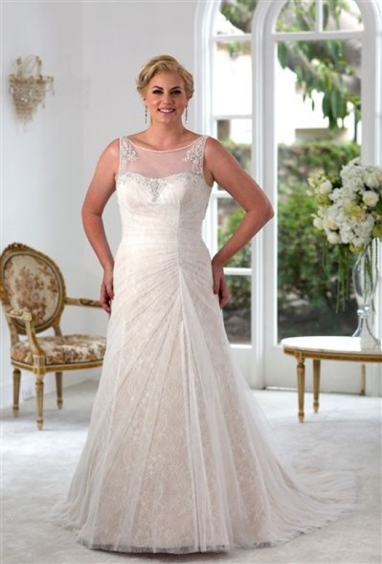 All-over lace A-line gown with side seam gathering and beaded sweetheart neckline