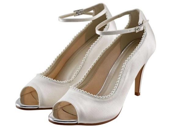 BELLA - Ivory satin peep toe shoe £95
