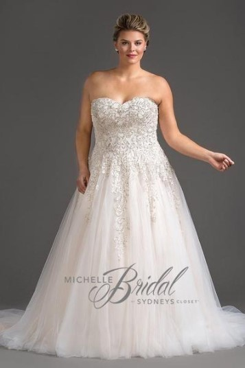 MB1819 - VANESSA - Heavily beaded strapless sweetheart bodice with A-line silhouette