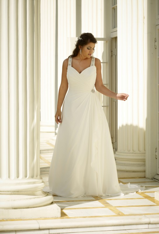 SON91758 - Chiffon A-line dress with sweetheart neckline