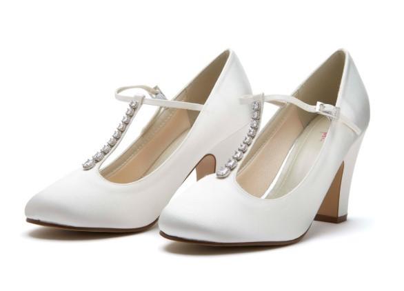 FRANKIE - Ivory satin T-bar court shoe