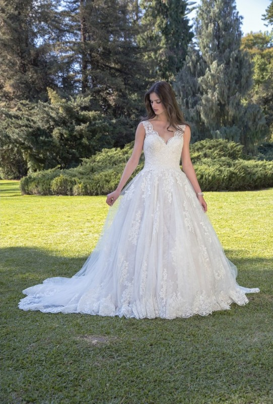 Classic lace ball gown with soft layers of tulle, open back with a low beaded illusion