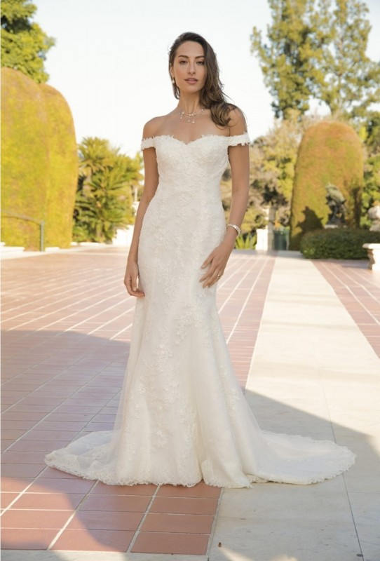 Court length gown with form fitting sheath, cascading lace and off the shoulder straps