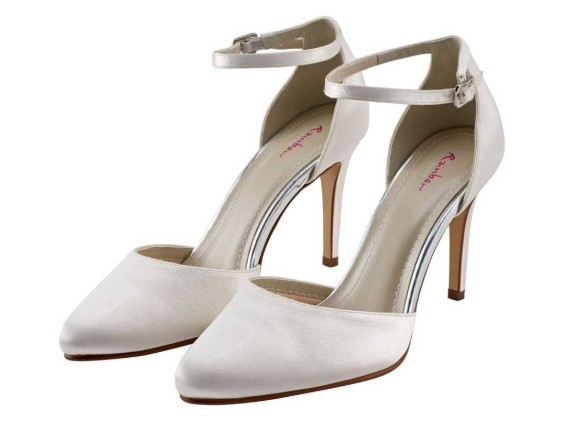 CARLY - Ivory satin ankle strap court shoe £69