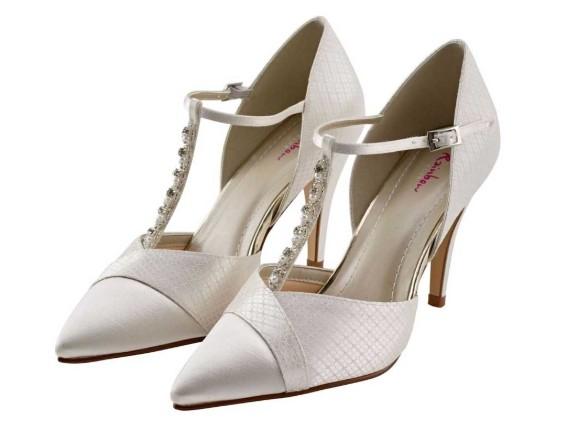 ASTRID - T-bar detail ivory satin court shoe £95