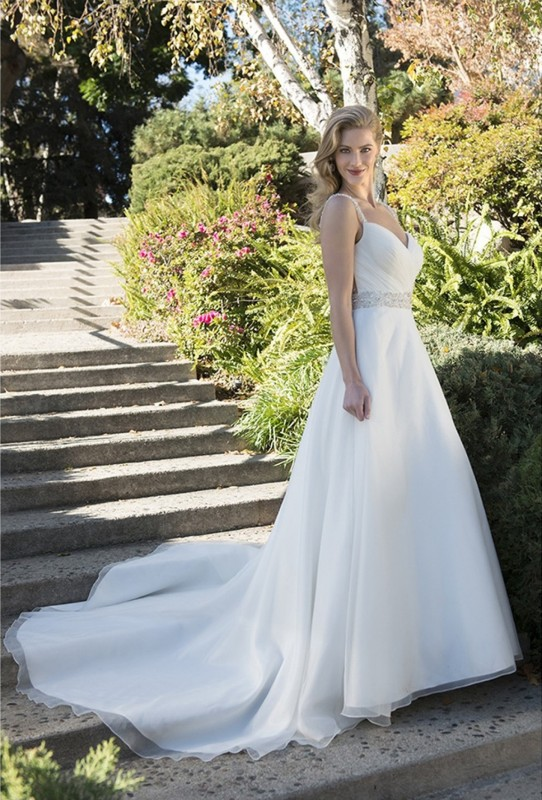 Rouched sweetheart neckline with beaded straps & a-line skirt with court length train